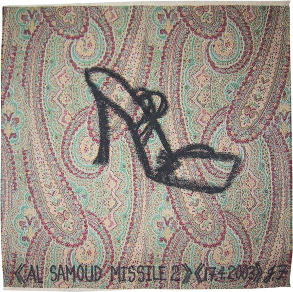 Jacqueline Fraser Al Samoud Missile 2 >, 2003; from the series AN ELEGANT PORTRAIT REFINED IN ELEVEN STUDIOUS PARTS >; oil stick on fabric (framed); 32 x 32 cm; enquire