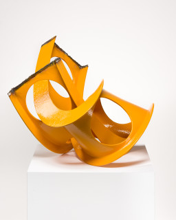 James Angus Castellated I-beam Knot (Yellow), 2015; Unique from  a series of 5: yellow / blue / red / black / white; steel, enamel paint; 63 x 79 x 76 cm; 40 kg; enquire