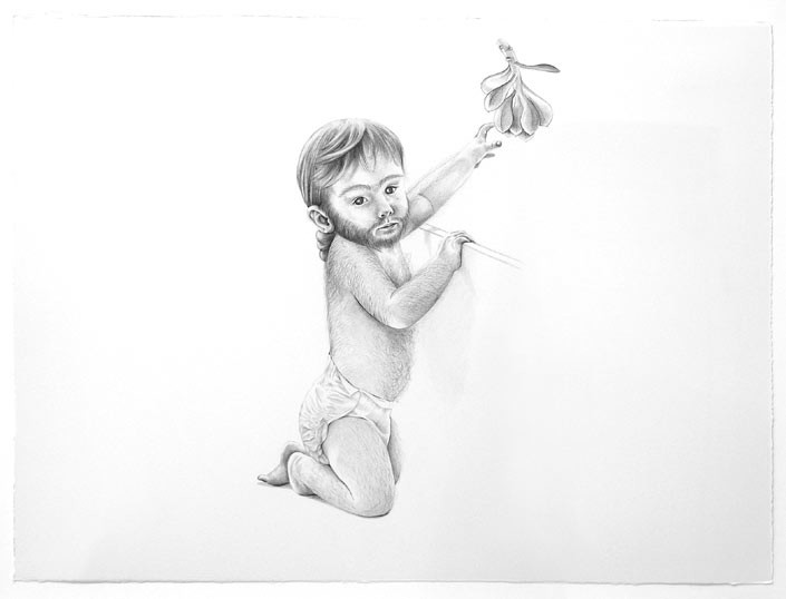 Patricia Piccinini Bearded Child, 2006; Graphite on paper; 57 x 77 cm; enquire