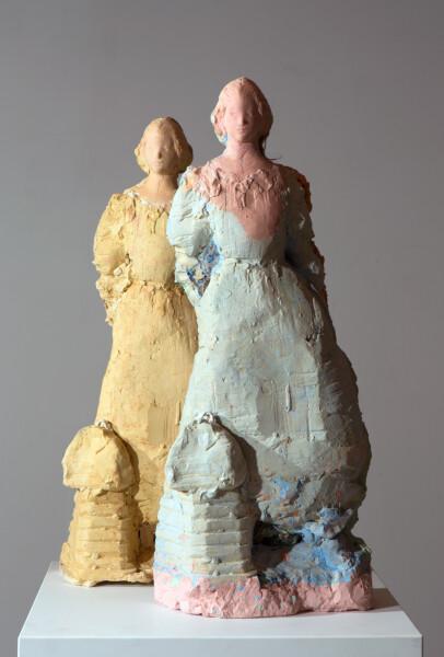Linda Marrinon Gainsboroughs daughters, 2016; tinted plaster; 2 pieces 71 x 28 x 11cm & 66 x 26 x 15cm; enquire