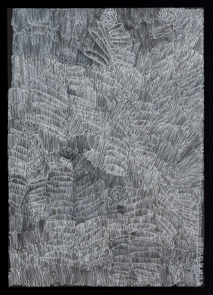 Nyapanyapa Yunupingu untitled, 2018; 5595-18; paint pen on clear acetate; 84 x 60 cm; enquire