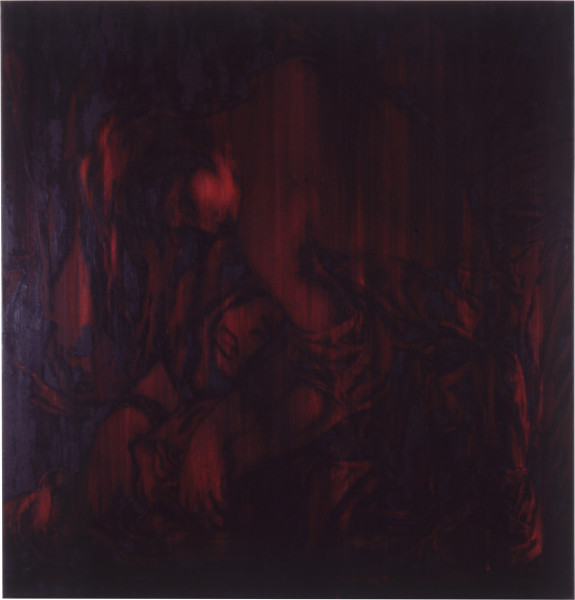 Lindy Lee This Heart, 1988; oils and wax on canvas; 139.5 x 134.5 cm; enquire