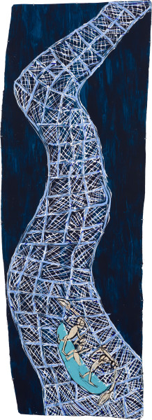Dhambit Munuŋgurr Wandawuy, 2021; 5071-21; earth pigments and acrylic on bark; 293 x 101 cm; enquire