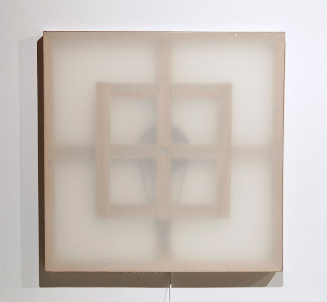 Marley Dawson Mechanical painting iii, 2009; timber, mechanics, polyester resin on polyester fabric, electronics, mild steel; 105 x 105 x 6.5 cm; enquire