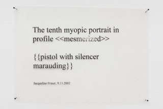 Jacqueline Fraser The tenth myopic portrait in profile > {{pistol with silencer marauding}} (detail), 2002; wire, finge ribbon; 85 x 35 cm; enquire
