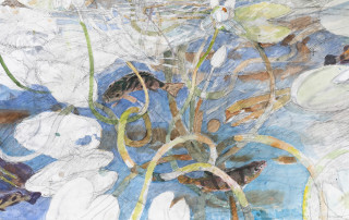 John Wolseley The life of inland waters – Durabudboi river (detail), 2015-18; watercolour, graphite, woodcut on paper; 124 x 445 cm; enquire