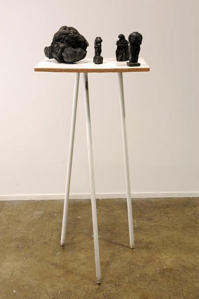 Hany Armanious Flashback, 2009; cast pigmented polyurethane resin, aluminium, asphalt; 145 x 72 x 72 cm; enquire