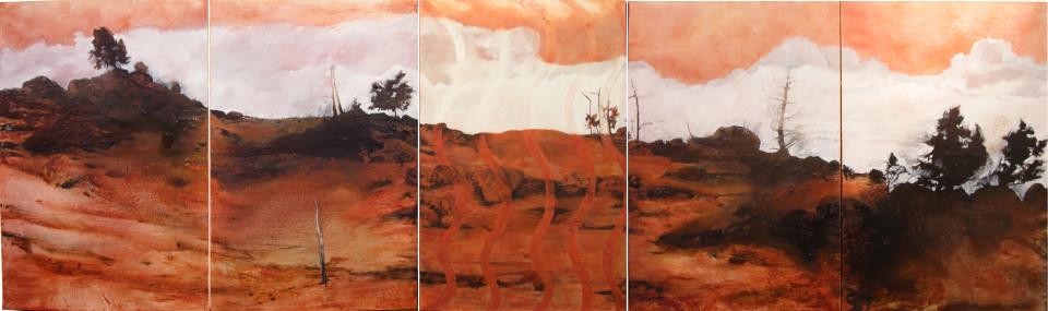 Mandy Martin and Trisha Carroll Haunted 1, 2004; ochre, pigment and oil on linen; 150 x 500 cm; enquire