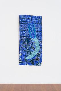installation view; Dhambit Munuŋgurr Gulyalayala, 2020; 3566-20; earth pigments and acrylic on bark; 185 x 83 cm; enquire
