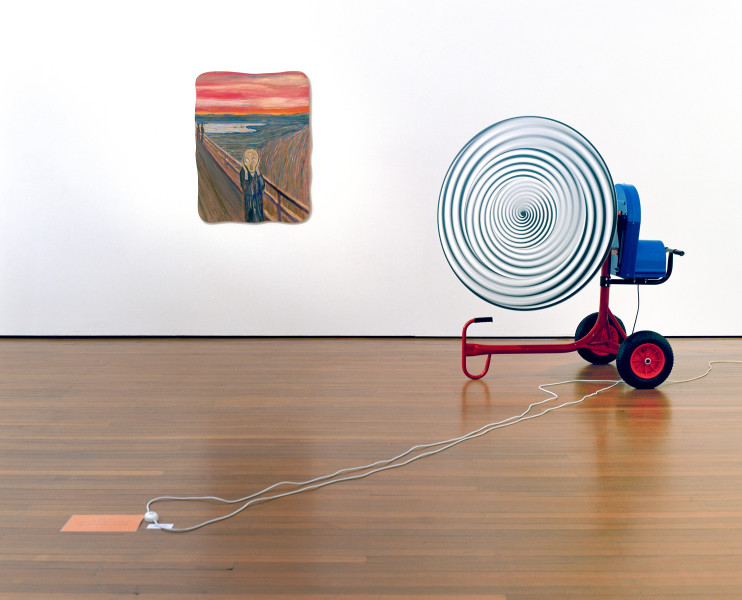 Hany Armanious The mess inside and the conceit of distance, 2003; adhesive vinyl, plastic and enamel on cement mixer; acrylic on gatorboard; 168 x 163 x 120 cm; (painting) 115 x 89 cm; Edition of 3; enquire