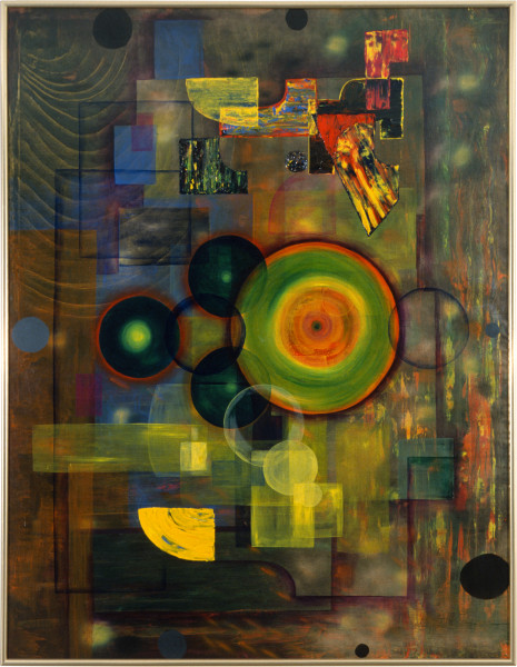 Dale Frank The Spirit and the Apes Spiral to the thing thronging the Space, 1986; acrylic & mixed media; 230 x 180 cm; enquire