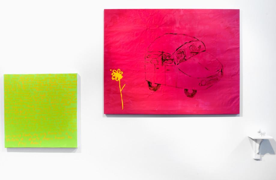 Jenny Watson Hermetically Sealed, 2010; Part 1: acrylic on rabbit skin glue primed French fabric, 100 x 130 cm Part 2: acrylic on prepared stretcher, 71 x 71 cm Part 3: white china rabbit on shelf, 10 x 7 x 8.5 cm ; enquire