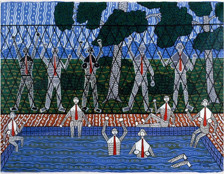 Robert Campbell Jnr Barred from baths, 1987; acrylic on canvas; 91 x 120 cm; enquire