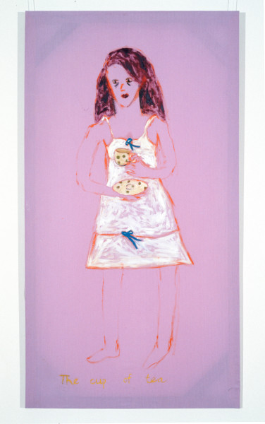 Jenny Watson The Cup Of Tea, 1989-90; oil on Rabbit skin Glue primed liberty cotton; 243.5 x 182.5 cm; enquire