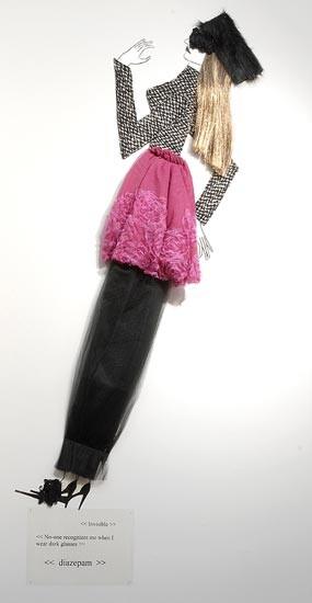Jacqueline Fraser   , 2004; Nylon hair, faux fur, black ruffle lace, Italian wool suiting, vylene stiffening, French rosette netting; 170 x 85 x 15 cm; enquire