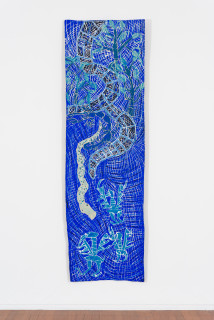 installation view; Dhambit Munuŋgurr Wandawuy, 2021; earth pigments and acrylic on bark; 279 x 85 cm; enquire