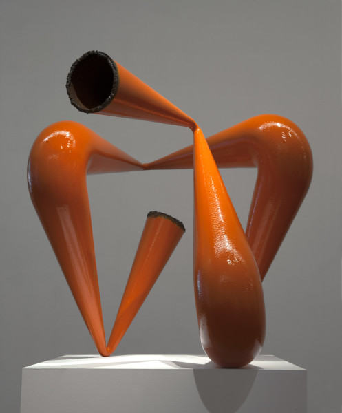 James Angus Pipe Compression I (Orange), 2013; from a series of 5 colours; steel, enamel paint; 82 x 78 x 100 cm; 90kg; enquire
