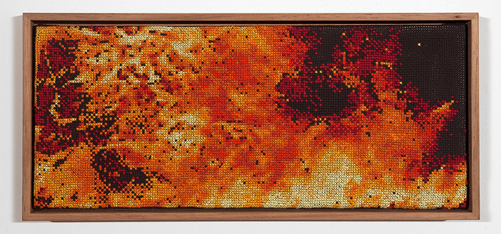 Claire Healy and Sean Cordeiro Tapestry of Disaster, Immolation, 2012; cotton cross stitch ; 14 x 30.5 cm (framed); enquire