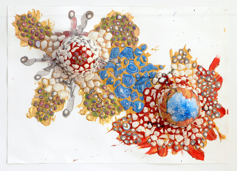 Rohan Wealleans Eater of Worlds, 2006; from the series Exhibited in 'Stolen Ritual', 2006; paint, polystrene on paper; 41 x 28 cm (paper), 56 x 43 x 10cm (frame); enquire