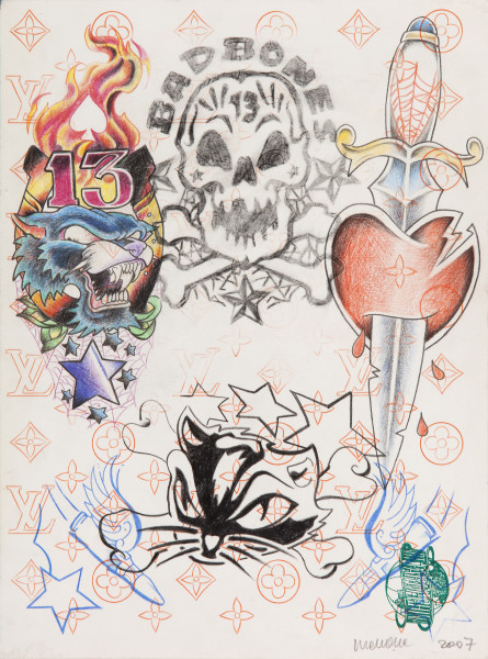 Wim Delvoye Untitled (tattoo drawing #5), 2007; pencil and coloured pencil on paper; 36 x 27 cm; enquire