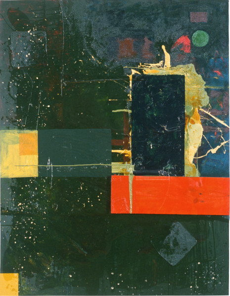 Dale Frank Mussdoo, 1990; acrylic, oil & varnish on timber & printed cotton on canvas; 230 x 180 cm; enquire