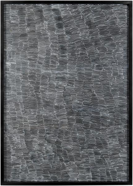 Nyapanyapa Yunupingu Untitled, 2012; 4305I - AC 6.4 Birrka'mirri; paint pen on clear acetate plastic; 86 x 62 cm; enquire