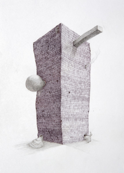 Teppei Kaneuji Tower #6, 2009; Ball-point pen & pencil on paper; 25.7 x 18.2 cm; enquire