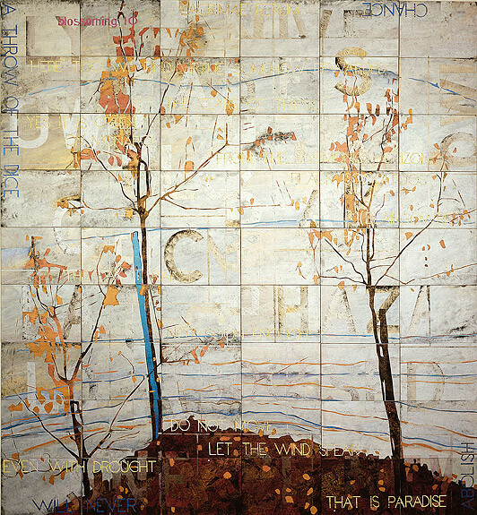 Imants Tillers Blossoming 10, 2007; acrylic, gouache on 54 canvasboards nos. 80173 - 80226; 228.6 x 213.5 cm; enquire