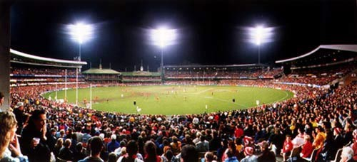Anne Zahalka AFL match, Sydney Cricket Ground, 1999; type C photograph; 115 x 145 cm; Edition of 12; enquire