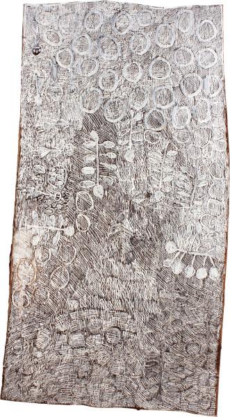 Nyapanyapa Yunupingu Leaves and Circles, 2011; 4068C; natural earth pigments on bark; 171 x 92 cm; enquire