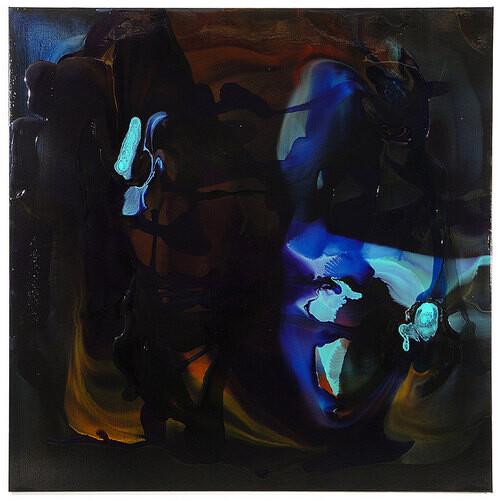 Dale Frank Phlomis Fruticosa Pennisetum Sedgefield Road Babinski Reflex, 2008; varnish on canvas; 200 x 200 cm; enquire