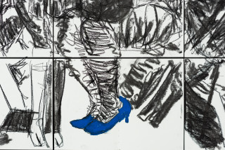 Pierre Mukeba (Blue) Heels (detail), 2021; charcoal and pastel on archival paper; 120 x 210 cm; enquire