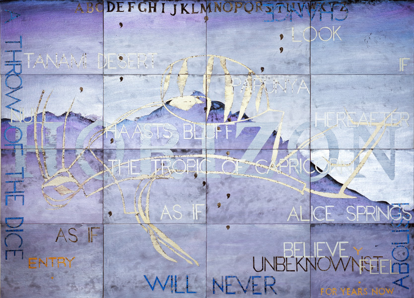 Imants Tillers Nature Speaks: Y, 2006; from the series Sung into Being; synthetic polymer paint, gouache on 16 canvasboards no. 80141 - 80156; 100 x 141 cm; enquire