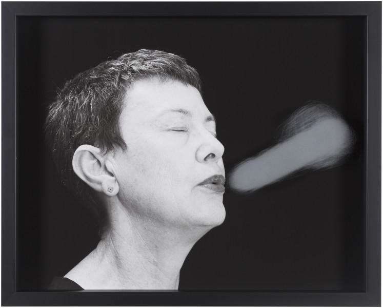 Julie Rrap Blow Back #4, 2018; digital print and handground glass; 52 x 64 cm; Edition of 3 + AP 1; enquire
