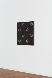 installation view; Daniel Boyd Untitled (WWDTCG), 2020; oil, charcoal, pastel and archival glue on canvas; 87 x 87 cm; Enquire